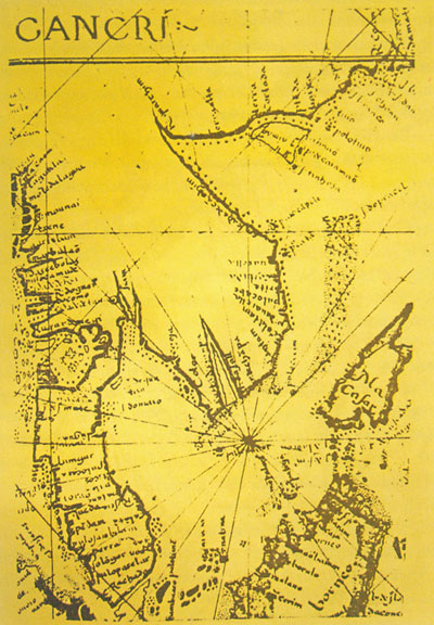 A 16th- century Portuguese nautical map depicting Hoang Sa and Truong Sa archipelagoes as a single archipelago located to the east of Viet Nam's mainland.