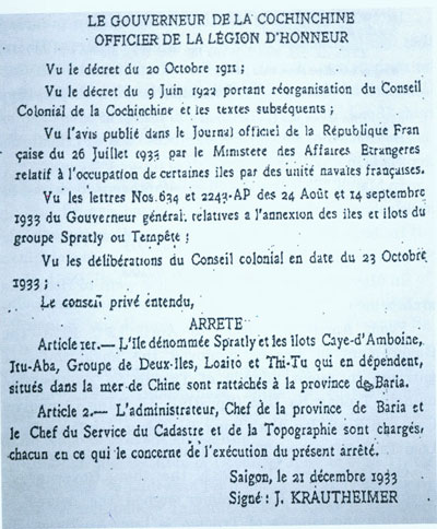Decree No.4762-CP dated December 21st, 1933 signed by the Governor of Cochinchina